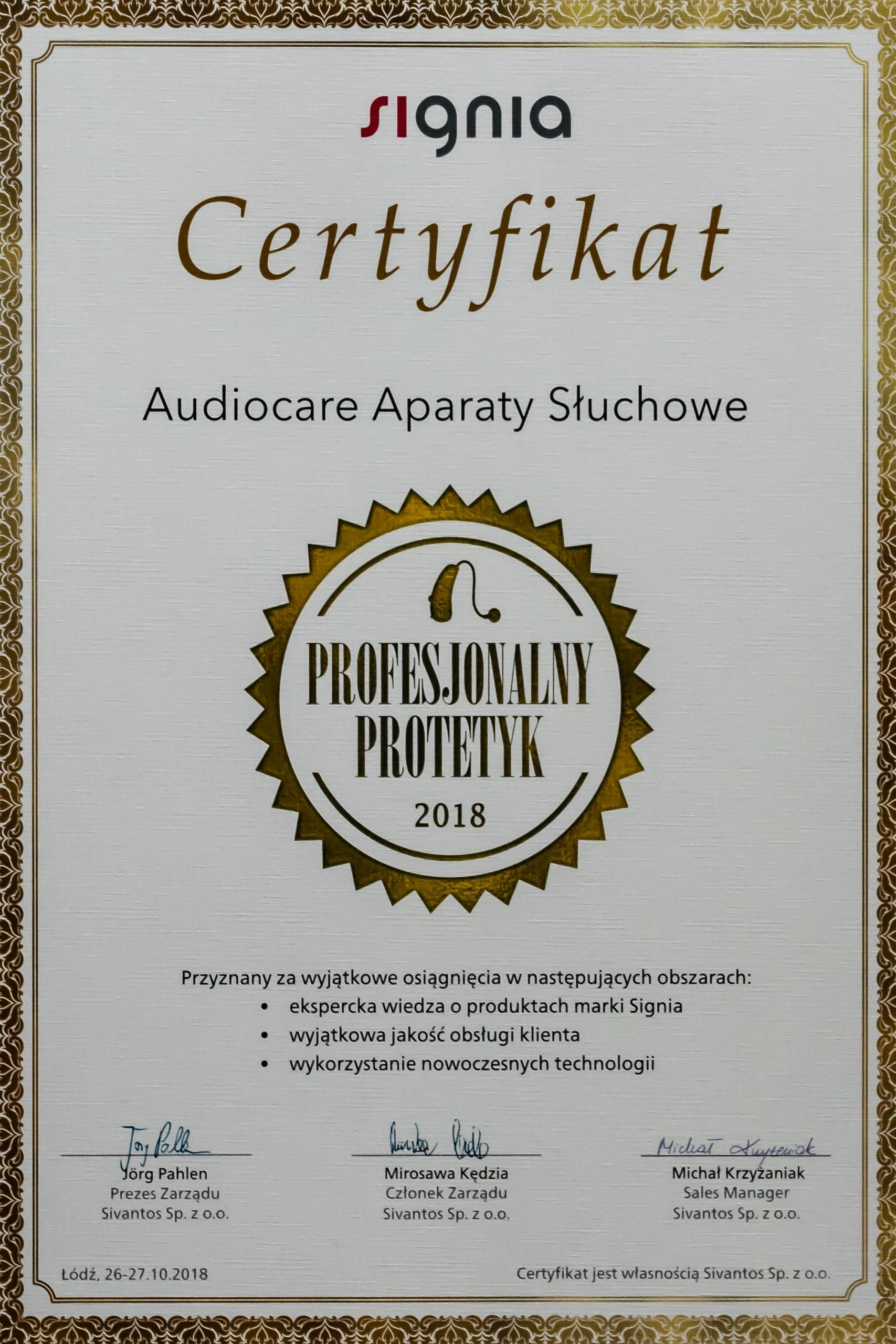 AUDIOCARE Aparaty Słuchowe | Signia - 2018 certyfikat profesjonalny protetyk