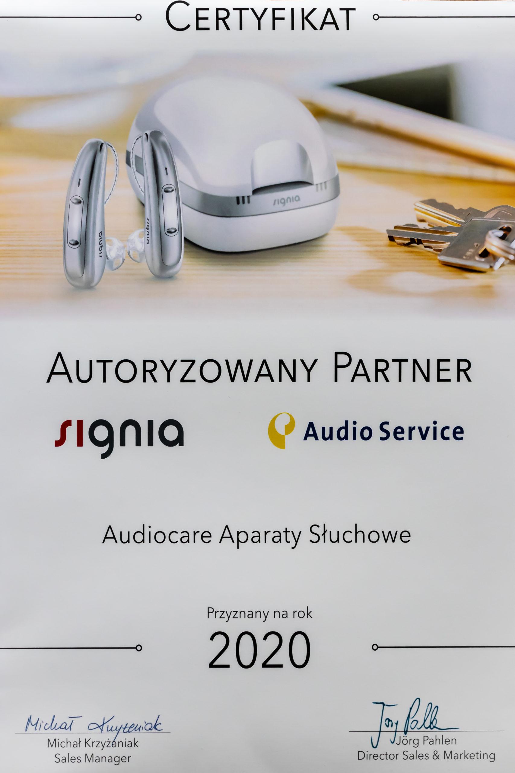 AUDIOCARE Aparaty Słuchowe | Signia - 2020 certyfikat autoryzowany partner